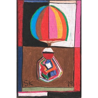 Abstract Oil Pastel on Wood Drawing by Sean Kratzert 'Hot Air Balloon Man' For Sale