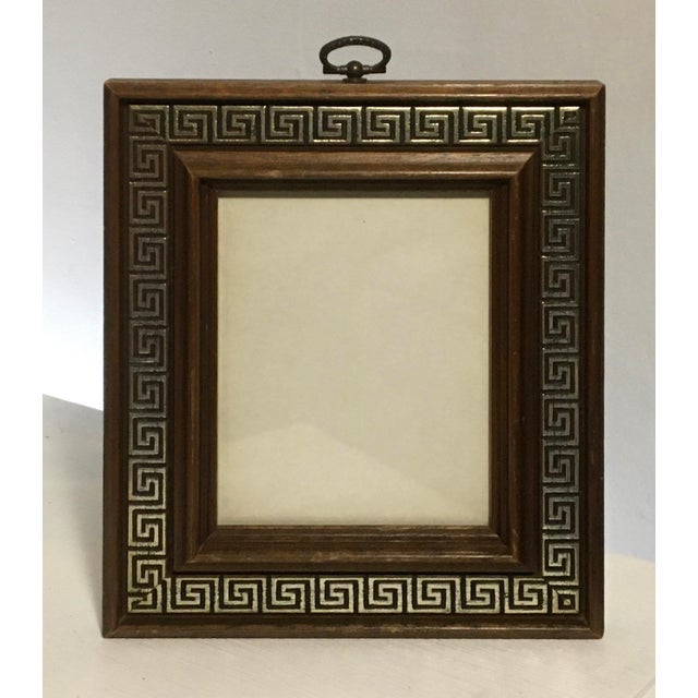 Brown Vintage Brass Ring Wood Picture Frame with Greek Key Border For Sale - Image 8 of 9
