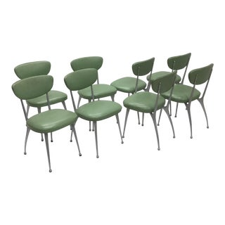 1950s Vintage Cast Aluminum Dining Chairs- Set of 8 For Sale