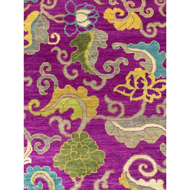 "Exotic Fuschia Chinese Design Rug, 8' X 10'3"" For Sale - Image 4 of 12"