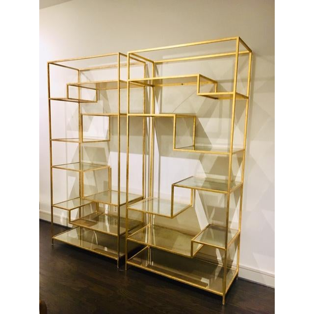 Hollywood Regency Dwell Studio Gold Etageres With Mirrored Shelves - a Pair For Sale - Image 4 of 5