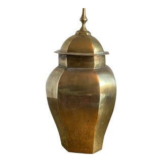 Decorative Crafts Inc. Mid-Century Octagon Brass Urn For Sale