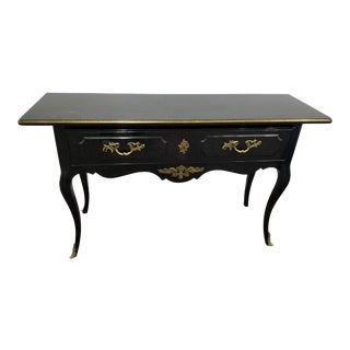 1950s Louis XV Style Black Laminate Console Table