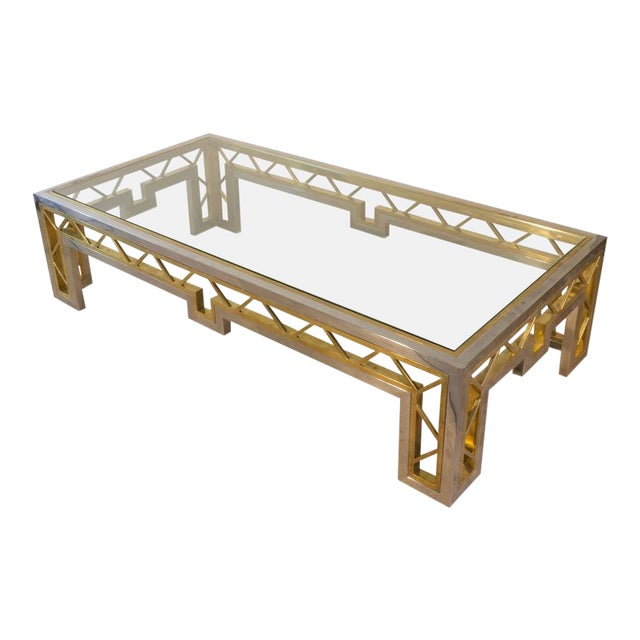 French 1970s Polished Steel and Brass Coffee Table with Glass Top - Image 1 of 8