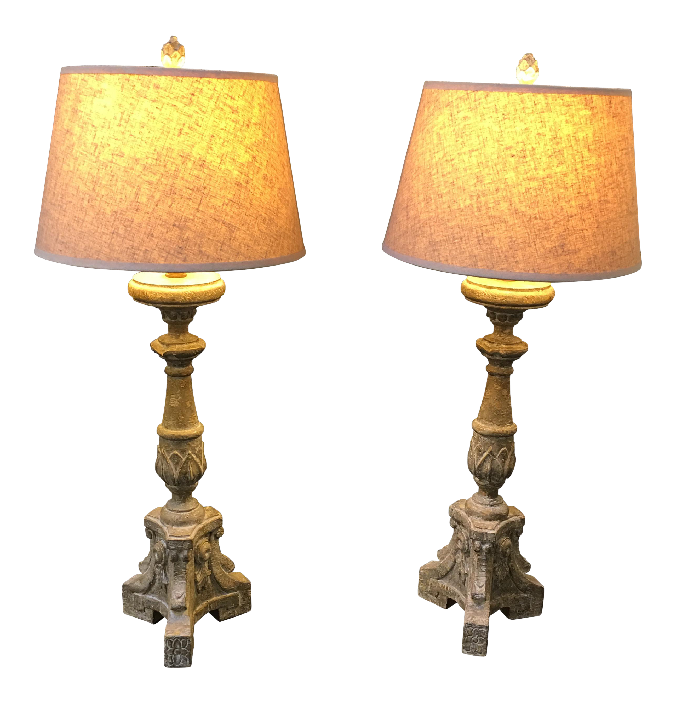 aiden grey lighting aiden gray table lamps a pair chairish 1184