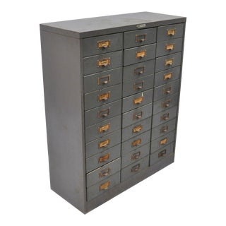 Steelmaster Art Steel Grey Steel Metal 30 Drawer Tool Storage Chest Box For Sale