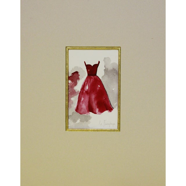 """A watercolor painting of a red gown with a sweetheart neckline and a gray background watercolor wash. Signed """"la Francine""""..."""
