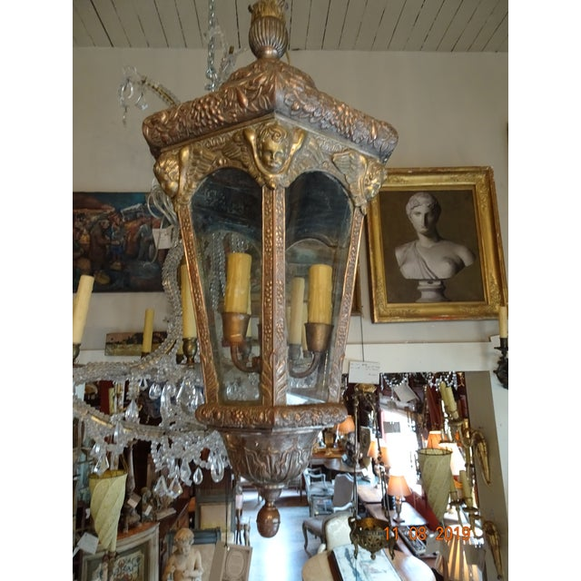 Such a fabulous French lantern from the 1900s. Brass, copper and silvered metal embossed with cherubs, grapes and flowers....