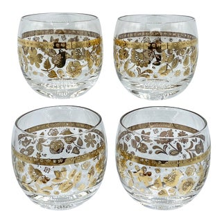 Mid-Century Culver Chantilly 22k Gold Roly Poly Glasses Set of 4 For Sale