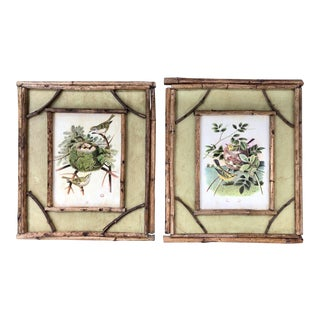 Rustic Bird Prints in Twig Frames - A Pair