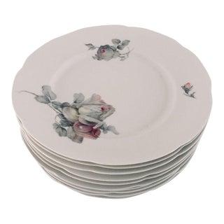 Vintage Cottage Style Gray Rose Pattern Dinner Plates - Set of 10