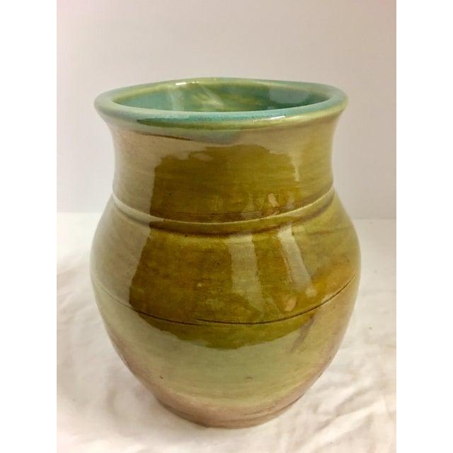 Vintage Ceramic Vase With Aqua Interior For Sale - Image 4 of 10