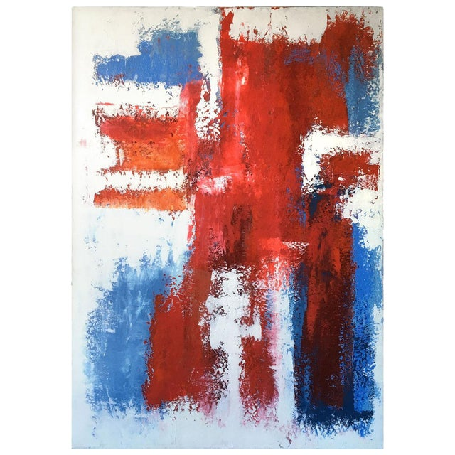 Mario Sergio Lopomo Vintage Abstract Painting For Sale