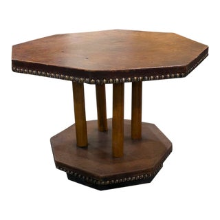 1900s English Leather Table With Nail Head Trim For Sale