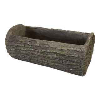 Faux Bois Concrete Log Planter For Sale