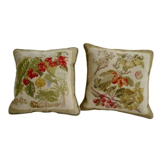 Pair Botanical Needlepoint Pillows Fruits and Berries For Sale
