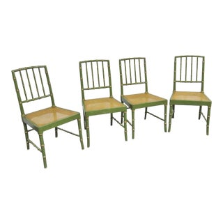 Kindel Regency Faux Bamboo Olive Green Caned Chairs- Set of 4 For Sale