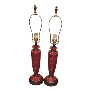 Vintage Cloisonné Enamel Lamps - A Pair