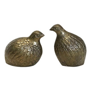 Vintage Solid Brass Quail - a Pair For Sale