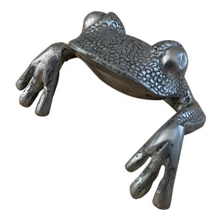 Miniature Japanese Pewter Frog Figure For Sale