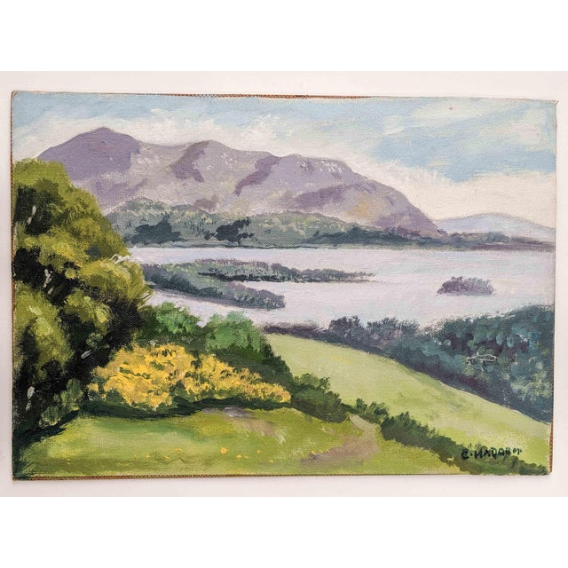 Mid 20th Century Picturesque Vintage Oil Landscape Painting of Mountains and Lake Scene, Signed by Artist C. Madahm For Sale - Image 5 of 5