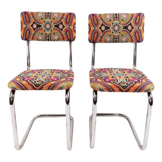 Mid-Century Italian Tapestry Side Chairs - A Pair