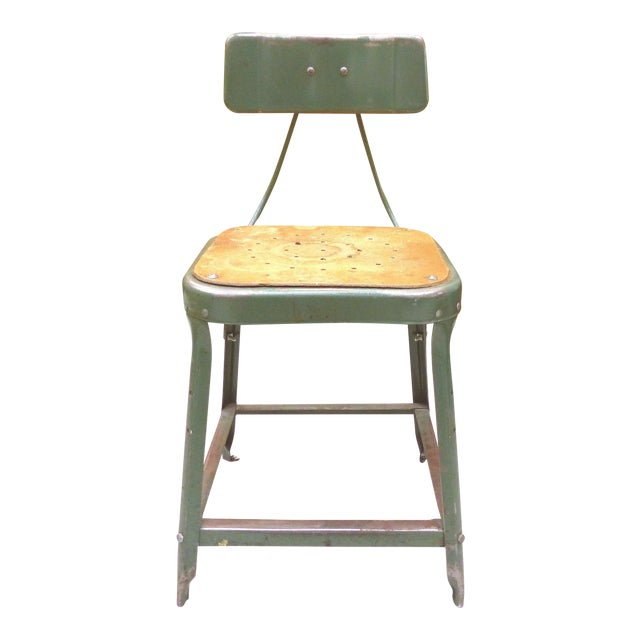 Industrial Metal Desk Chair For Sale