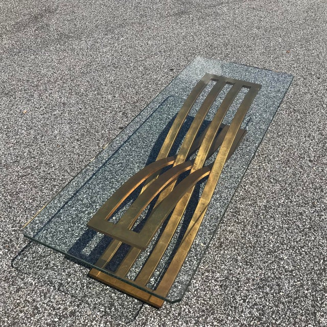 Hollywood Regency Vintage Hollywood Regency Gilt Slatted Steel Sculptural X Base Glass Top Coffee Table For Sale - Image 3 of 13