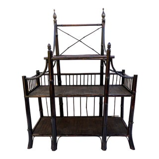 Antique Bamboo Etagere | Entry Table | Display Storage Table For Sale