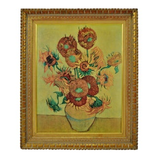 Vintage Framed Vincent Van Gogh Sunflowers Giclee on Canvas Reproduction For Sale