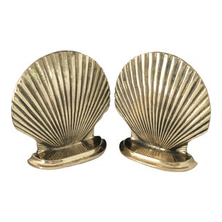Vintage Clam Shell Brass Bookends- the Pair For Sale