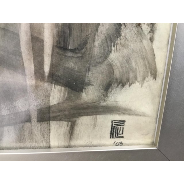 Charcoal Large Format Framed Abstract Ink and Charcoal Drawing For Sale - Image 8 of 13