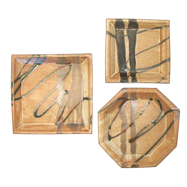Ceramic Abstract Bamboo Art Pottery, Signed, Set of 3 For Sale - Image 7 of 7