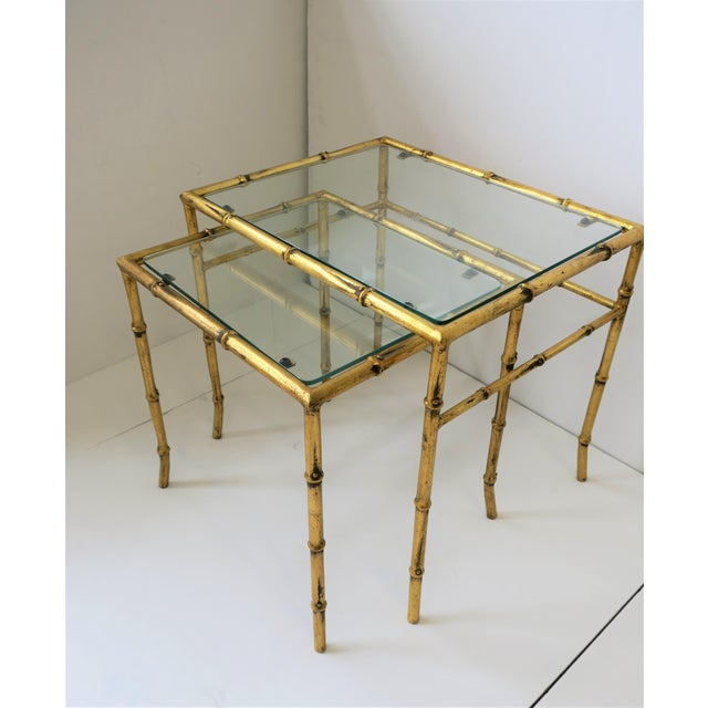 Italian Gold Gilt Bamboo and Glass Nesting or End Tables, Set of 2 For Sale - Image 9 of 12