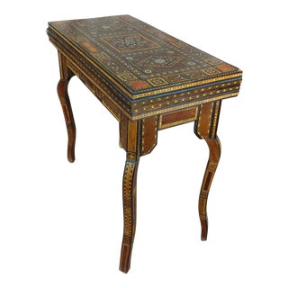19th Century Syrian Mother of Pearl Inlaid Game Table