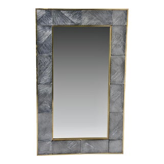 Italian Mirror With Heavy Murano Glass and Brass Frame For Sale