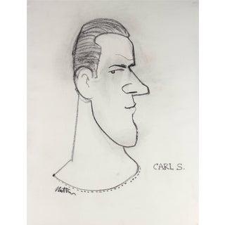 Rip Matteson Academic Monochromatic Illustration of a Man's Profile in Charcoal, Circa 1945 Circa 1945 For Sale