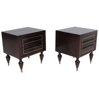 Pair of Mahogany & Brass Nightstands Attributed to Eugenio Escudero For Sale