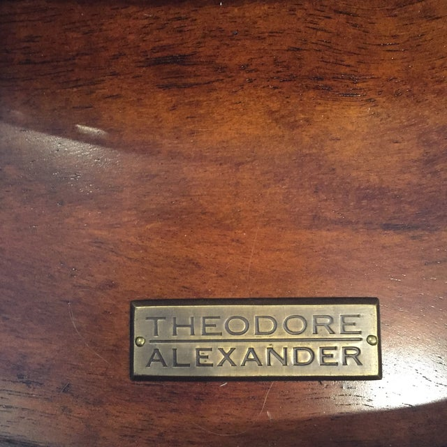 Theodore Alexander Mahogany & Brass Cerejeira Louis XVI Accent Lamp Table For Sale In West Palm - Image 6 of 10