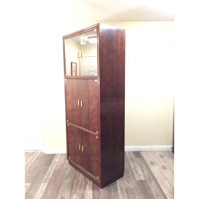 Henredon Campaign Wall Unit W/ Curio Display Cabinets, Bookshelves and Dual Door Cabinet - 4 Pc. Set For Sale In Los Angeles - Image 6 of 13