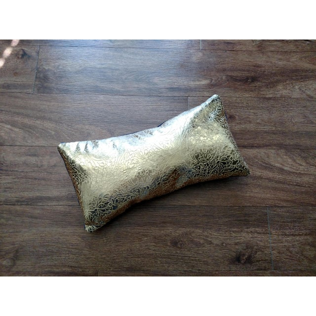 Gambrell Renard Gold Leather & Velvet Pillow - Image 2 of 4