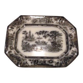 19th Century English Staffordshire Flow Black Mulberry Ironstone Platter For Sale