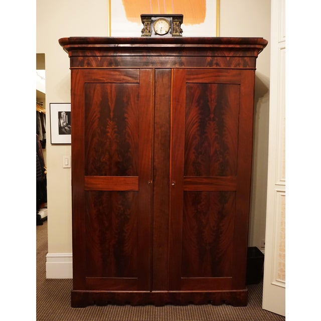 French 1840's French Wood Armoire With Crotch Mahogany Panels For Sale - Image 3 of 3