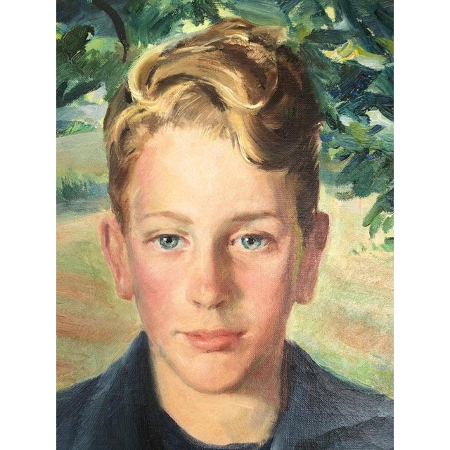Postimpressionist American School, Portrait of a Boy in the landscape. Mid Century signed illegibly, dated 1950's.