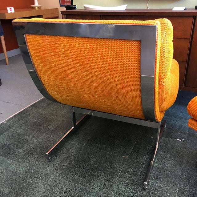 Orange 1970s Steel Framed Scoop Lounge Chairs by Kipp Stewart for Directional - a Pair For Sale - Image 8 of 10