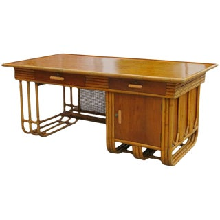 Restored Large Jean Royère Style Streamline Rattan Executive Desk For Sale