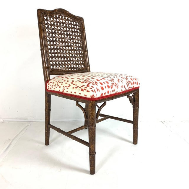Asian Set of 6 Upholstered Faux Bois Bamboo Chinese Chippendale Cane Dining Chairs For Sale - Image 3 of 13