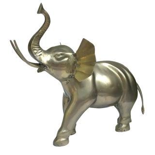 Large 1970s/80s Brass Elephant Figurine Sculpture For Sale