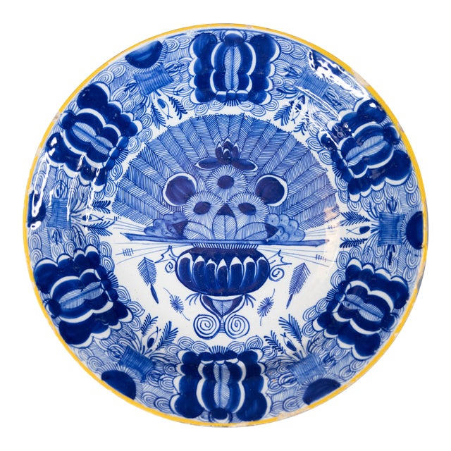 18th-Century Dutch Delft Peacock Charger For Sale