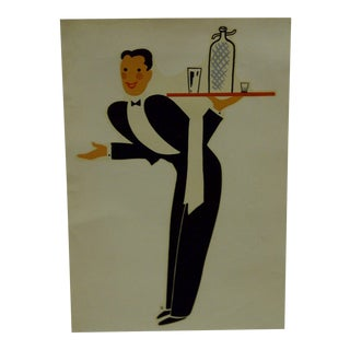 """1930s Vintage Decal / Wall Decoration """"The Waiter"""" the Meyercord Co. Chicago For Sale"""